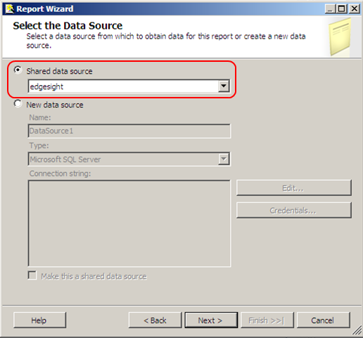 Select shared data source in Report Wizard