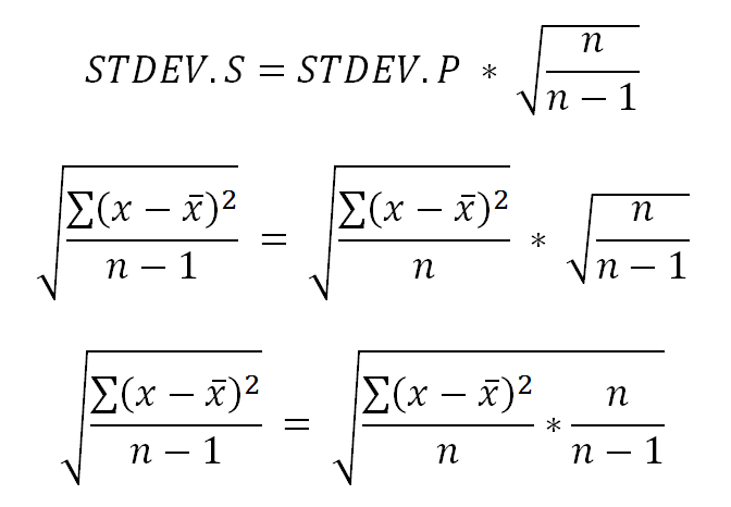 Standard deviation for small and large sets