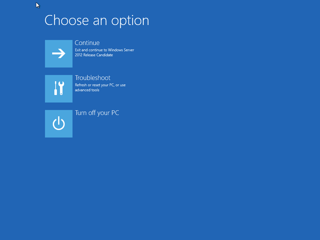 Choose troubleshooting option