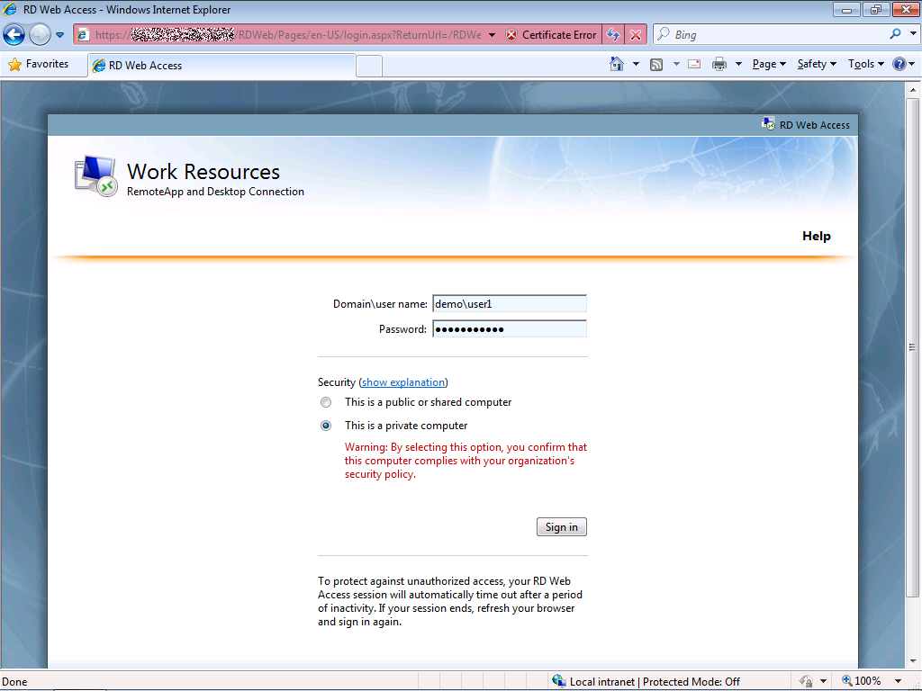 Logon to RD Web Access