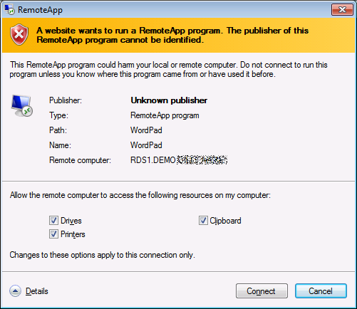 Warning about an untrusted publisher for RDP file