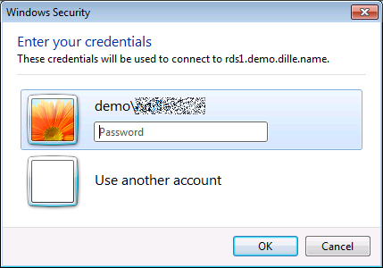 Credential prompt for remote desktop connection