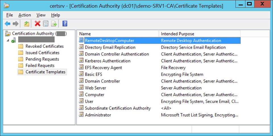 Issue certificate template for RDP
