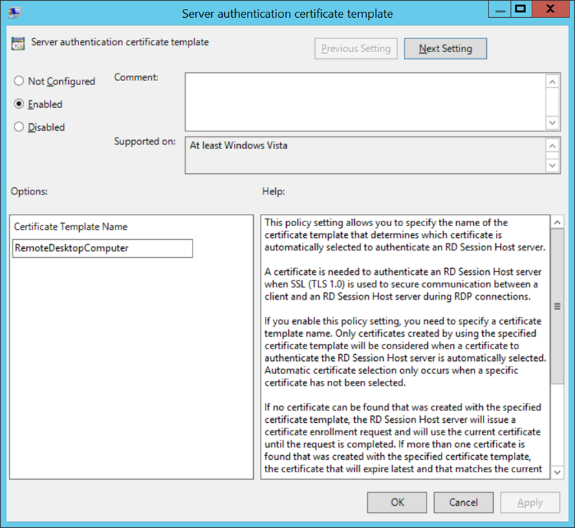 Configure template for RDP certificates