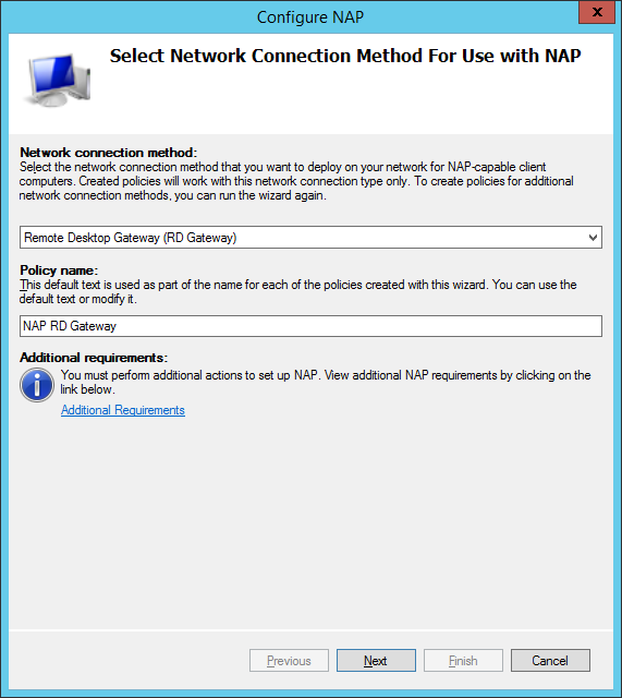 Configure network connection model for NAP