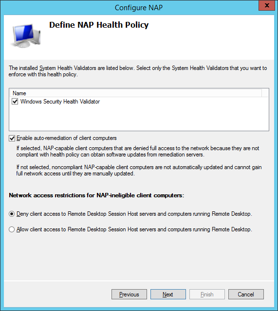 Configure NAP health policy