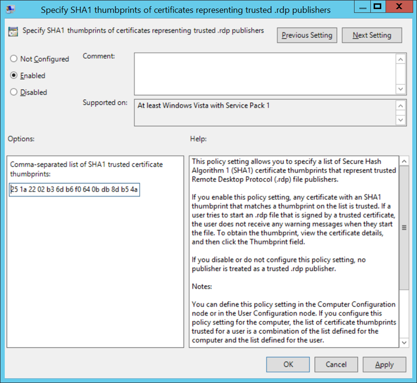 Configure certificate thumbprints
