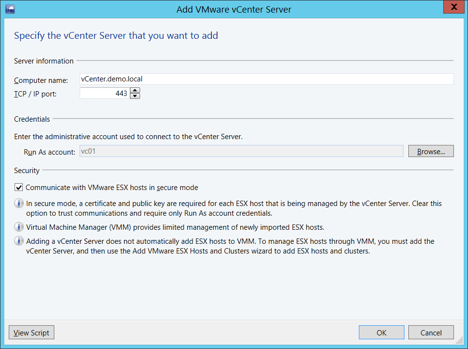 Add vCenter to VMM
