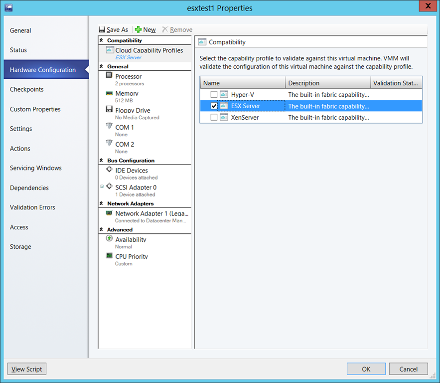 Configure compatibility for ESX
