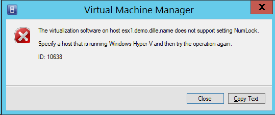 The virtualization software does not support setting NumLock