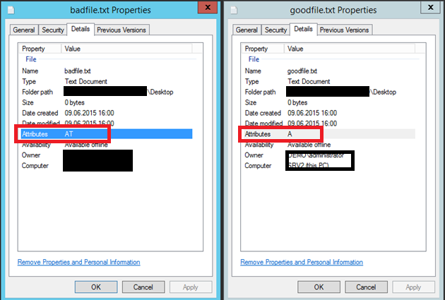 "Comparison of the details tab in the file properties. The good file only has the attribute ""A"" but the bad file has the attributes ""AT"" set. The bad file was skipped by DFS replication (DFS-R)"
